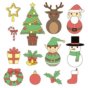 Pastellsammlung der frohen Weihnachten Gekritzel