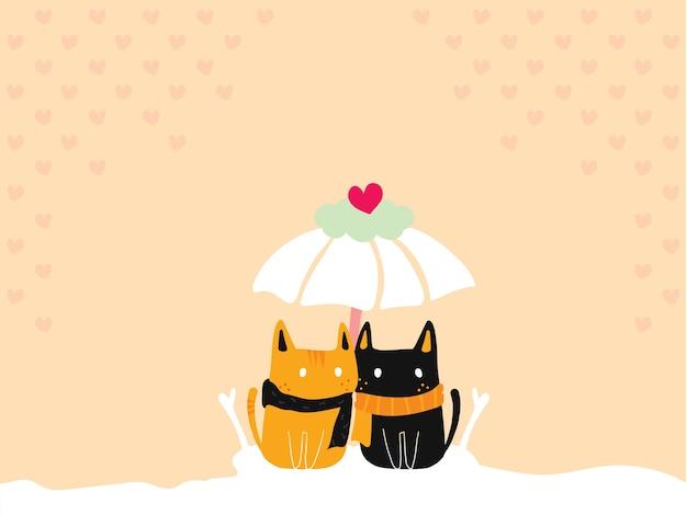 Pastelltapete der netten katzenpaare, die zusammen unter dem liebesregenschirm sitzen.