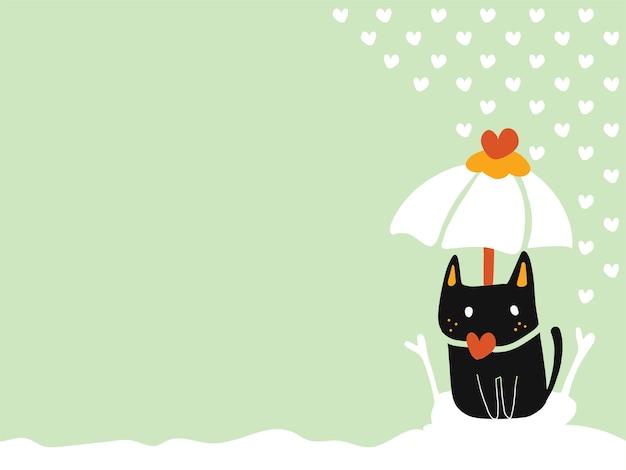 Pastelltapete mit kopienraum einer einsamen schwarzen katze, die auf schnee unter einem liebes umbrel sitzt