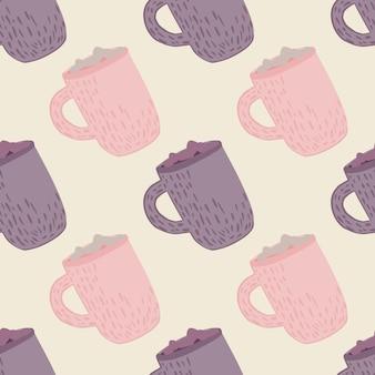 Pastelltöne winter nahtloses muster mit feiertagsgetränkedruck. lila und rosa heiße schokoladenbechergrafik. ideal für stoffdesign, textildruck, verpackung, bezug. vektorillustration
