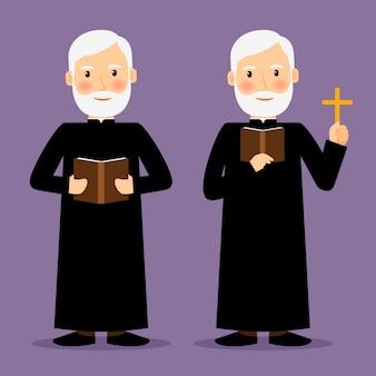 Pastorcharakter mit dem kreuz und bibel lokalisiert. vektor-illustration