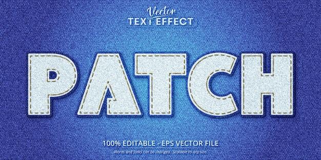 Patch-text, bearbeitbarer texteffekt im realistischen denim-stil