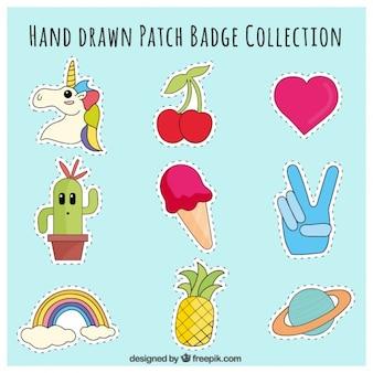 Patches hand mit verschiedenen themen gezeichnet