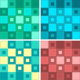 Patchwork-hintergrund-set in verschiedenen farben