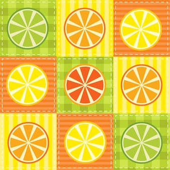 Patchwork mit zitrone, limette, orange und grapefruit