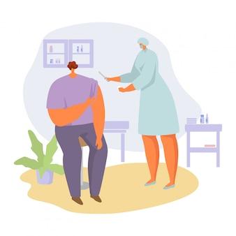 Patient auf arztterminillustration, karikaturkrankenschwesterfrau in der maskenherstellung zum mann medizinische injektion auf weiß