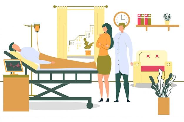Patient auf krankenhausbett mit tropfenzähler-frauen-besuchsillustration