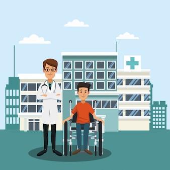 Patient auf rollstuhl außerhalb der krankenhauskarikaturen