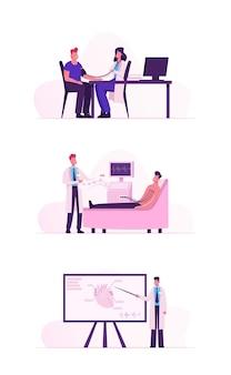 Patient besucht die kardiologieklinik zur medizinischen herzuntersuchung. karikatur flache illustration