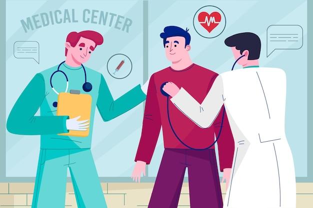 Patient, der eine ärztliche untersuchung macht