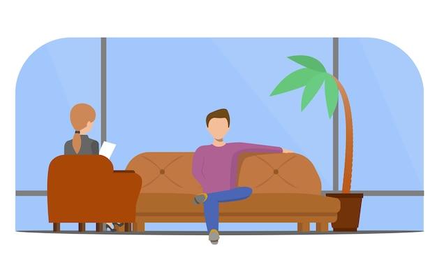 Patient, der mit psychologen spricht. psychotherapeutische beratung.