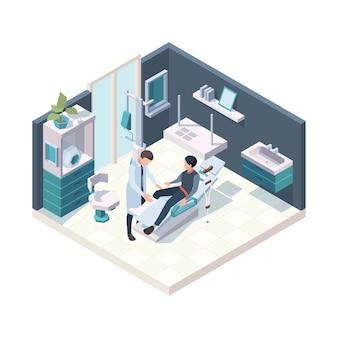Patient im krankenhaus. notfall erste verletzung raum gesundheit erwachsene personen krankenschwester und ärzte medizinische illustration isometrische innenraum.