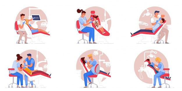 Patient im zahnarztstuhl. arzt, der die zähne des patienten untersucht oder behandelt. menschen im stuhl besuchen zahnarzt in der zahnklinik büro sammlung. konzept für stomatologie, gesundheitswesen und zahnmedizin