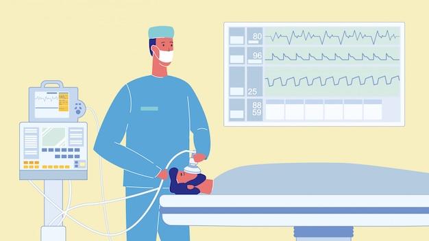 Patient in der reanimations-karikatur-vektor-illustration