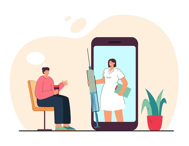 Patient mit kaffeeberatungskrankenschwester über impfung online. medizinischer fachmann mit spritze auf flacher illustration des riesigen telefons