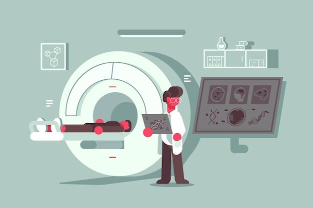 Patient mit magnetresonanztomographie im krankenhaus