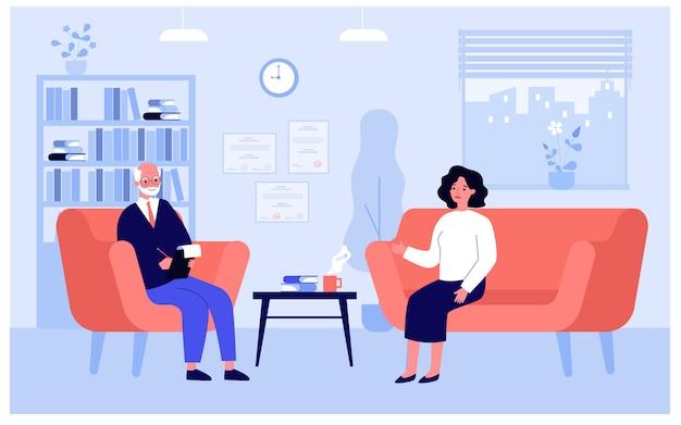 Patient sitzt auf dem sofa und spricht mit dem therapeuten
