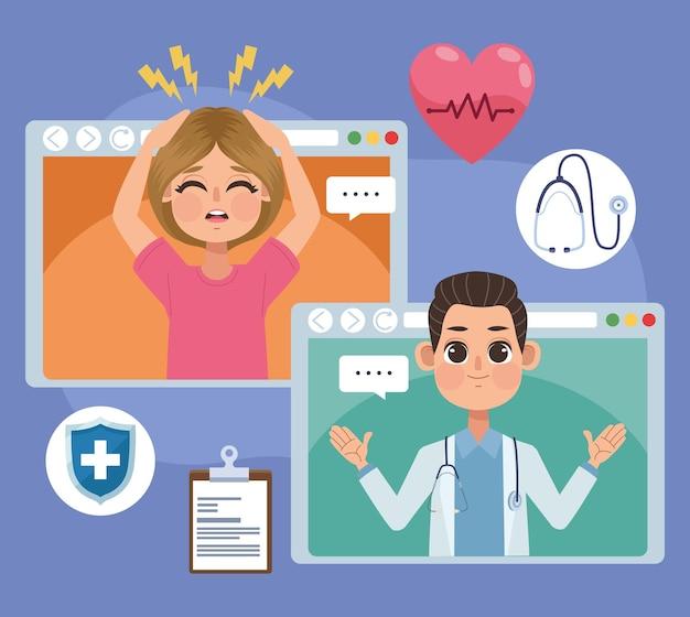 Patient und arzt auf webseiten