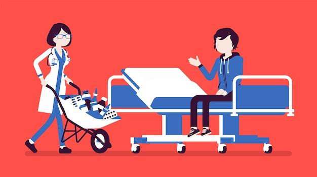Patient und krankenhausarzt mit wagen voller medikamente