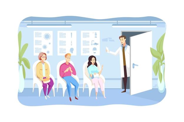 Patient, untersuchung, warteschlange, medizinkonzept. der arzt ruft wartende menschen mann und frau zeichentrickfiguren, die in der schlange in der krankenhaushalle sitzen, zum kabinett.