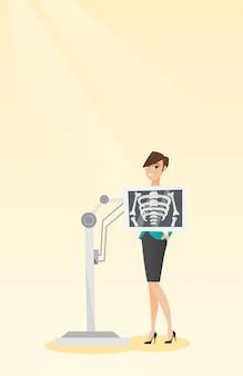 Patient während der röntgenstrahlverfahren-vektorillustration