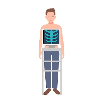 Patient während des medizinischen verfahrens der aufnahme des röntgenbildes der brust isoliert auf weißem hintergrund. junger mann, der in röntgengerät und bild seines brustkorbs auf monitor steht. karikaturillustration