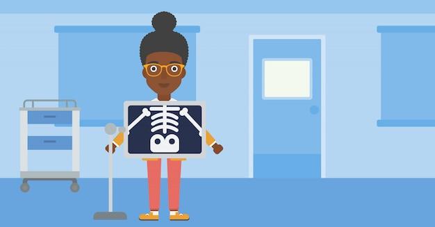 Patient während des röntgenverfahrens.