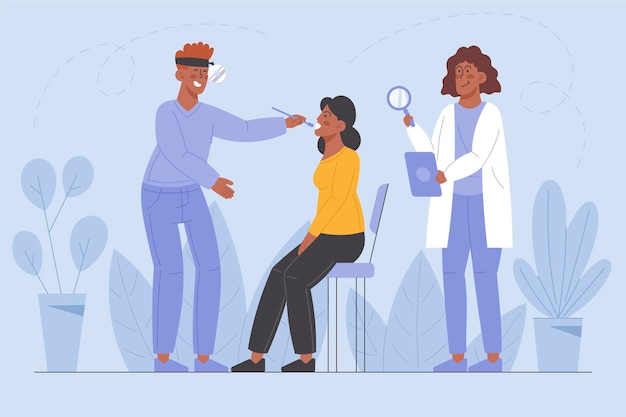 Patient wird von einem arzt in einer klinikillustration untersucht