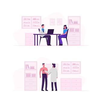 Patienten am arzttermin. karikatur flache illustration
