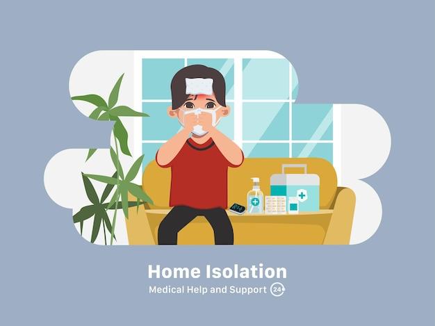 Patienten behandeln covid19 zu hause, isolation und selbstversorgung Kostenlosen Vektoren