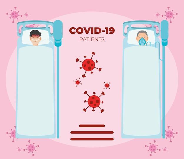 Patienten, die an ein beatmungsgerät im krankenhausbett angeschlossen sind, um das coronavirus zu veranschaulichen