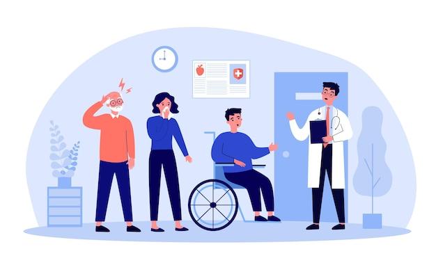 Patienten, die in der warteschlange in der flachen illustration der krankenhaushalle stehen