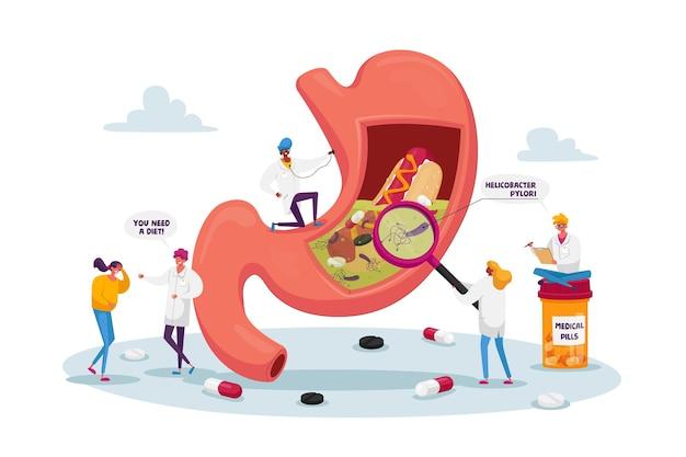 Patienten mit magenschmerzen und helicobacter-krankheit berühren schmerzhaften bauch bei arzttermin
