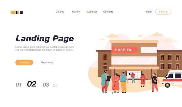 Patienten und besucher, die in der nähe des krankenhausgebäudes gehen