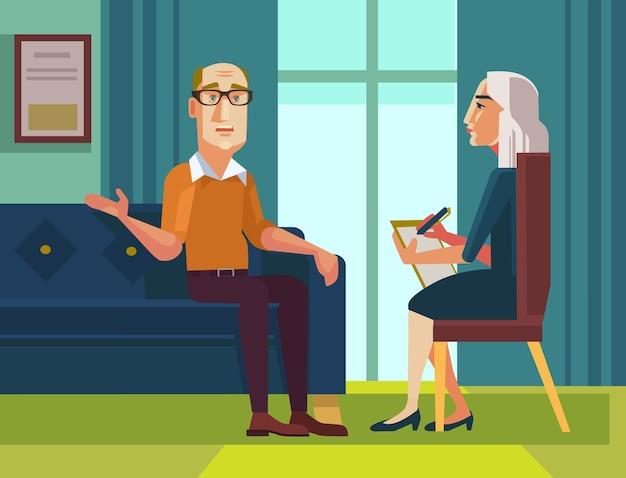 Patientencharakter, der mit psychologe über probleme flache karikaturillustration spricht