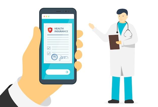 Patientenhand, die smartphone mit krankenversicherungsformular und männlichen arzt-online-schildern hält