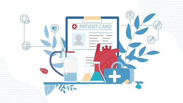 Patientenkarte, medikamentenetui, testglas und flaschen