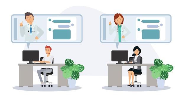 Patientenkonsultation zum arzt per smartphone. online-konzert für medizinische unterstützung. online-arzt. gesundheitswesen, fragen sie einen arzt. flache vektor-cartoon-charakter-illustration.
