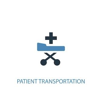 Patiententransportkonzept 2 farbiges symbol. einfache blaue elementillustration. patiententransportkonzept symboldesign. kann für web- und mobile ui/ux verwendet werden