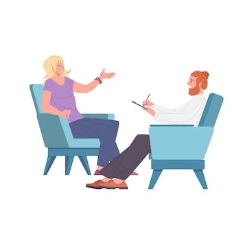 Patientin und mannpsychologe, psychoanalytiker oder psychotherapeut, die in sesseln voreinander sitzen und sprechen. psychotherapeutische sitzung, psychiatrische hilfe. flache vektorillustration.