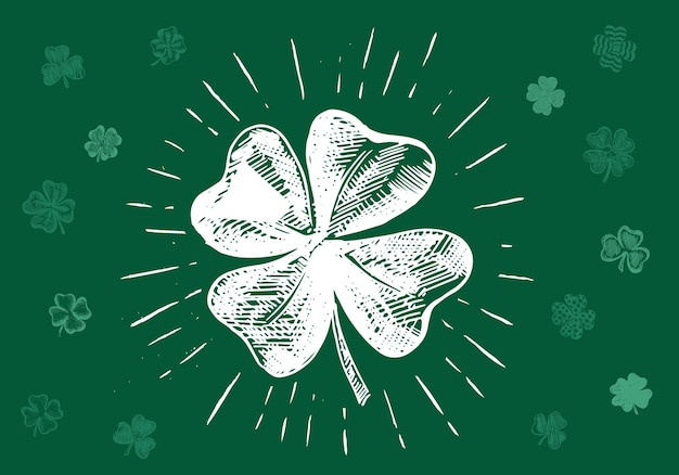 Patrick day clover handgezeichnete illustration
