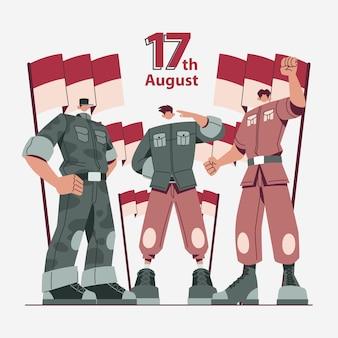 Patriot character illustration indonesien für den unabhängigkeitstag