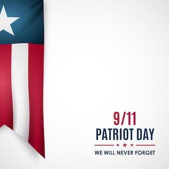 Patriot day banner realistisches band in den nationalfarben der usa