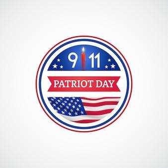 Patriot day-etikett mit amerikanischer flagge