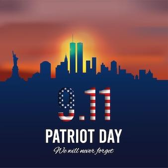 Patriot day hintergrund new york city skyline und amerikanische grunge-flagge vector