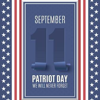 Patriot day hintergrund oben auf abstrakte amerikanische flagge. , nationaler tag der erinnerung. illustration.