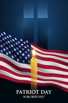 Patriot day vertikales banner wir werden es nie vergessen