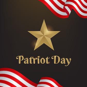 Patriot-tag mit sterngold und amerika-flagge