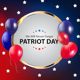 Patriot-tageshintergrund. 11. september poster. wir werden niemals vergessen. vektorillustration