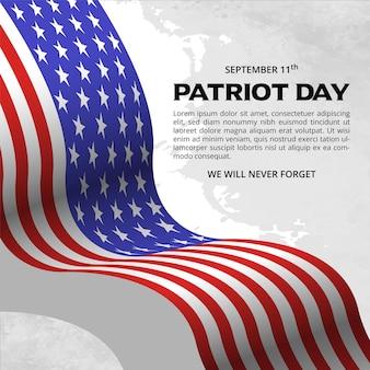 Patriot-tageshintergrunddesign mit wehender flagge